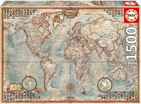 Educa Borras - Genuine Puzzles, Puzzle 1.500 piezas, El mundo, mapa político (16005): Amazon.es: Juguetes y juegos