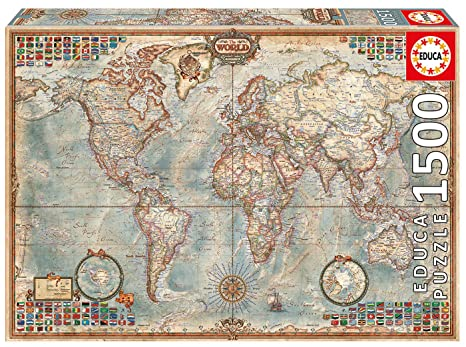 Amazon.com: Educa Political Map of The World Puzzle, 1500-Piece ...