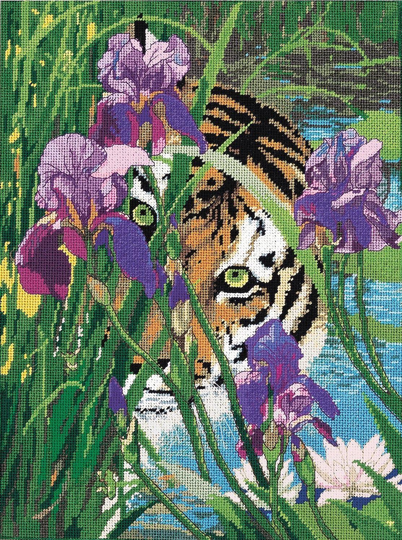 11 by 14-Inch Candamar Designs 30907 Peeking Tiger Needle Point Kit