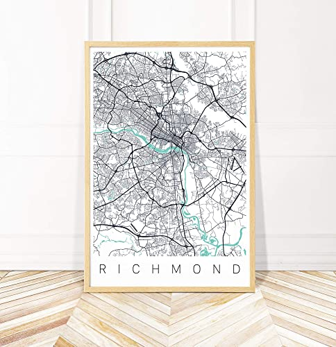 Amazon.com: Richmond VA Map Art Print - Map of Richmond ...