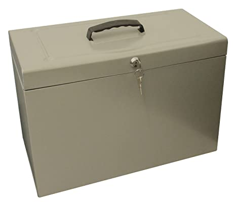 Caja archivadora de metal, tamaño folio, color gris