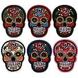 6 Piezas 6 Colores Parche Ropa Bordado, Cool cráneo Rosa Flor Estilo Bordado Ropa de Bricolaje Parches decoración de Ropa para T-Shirt Jeans Ropa Bolsas