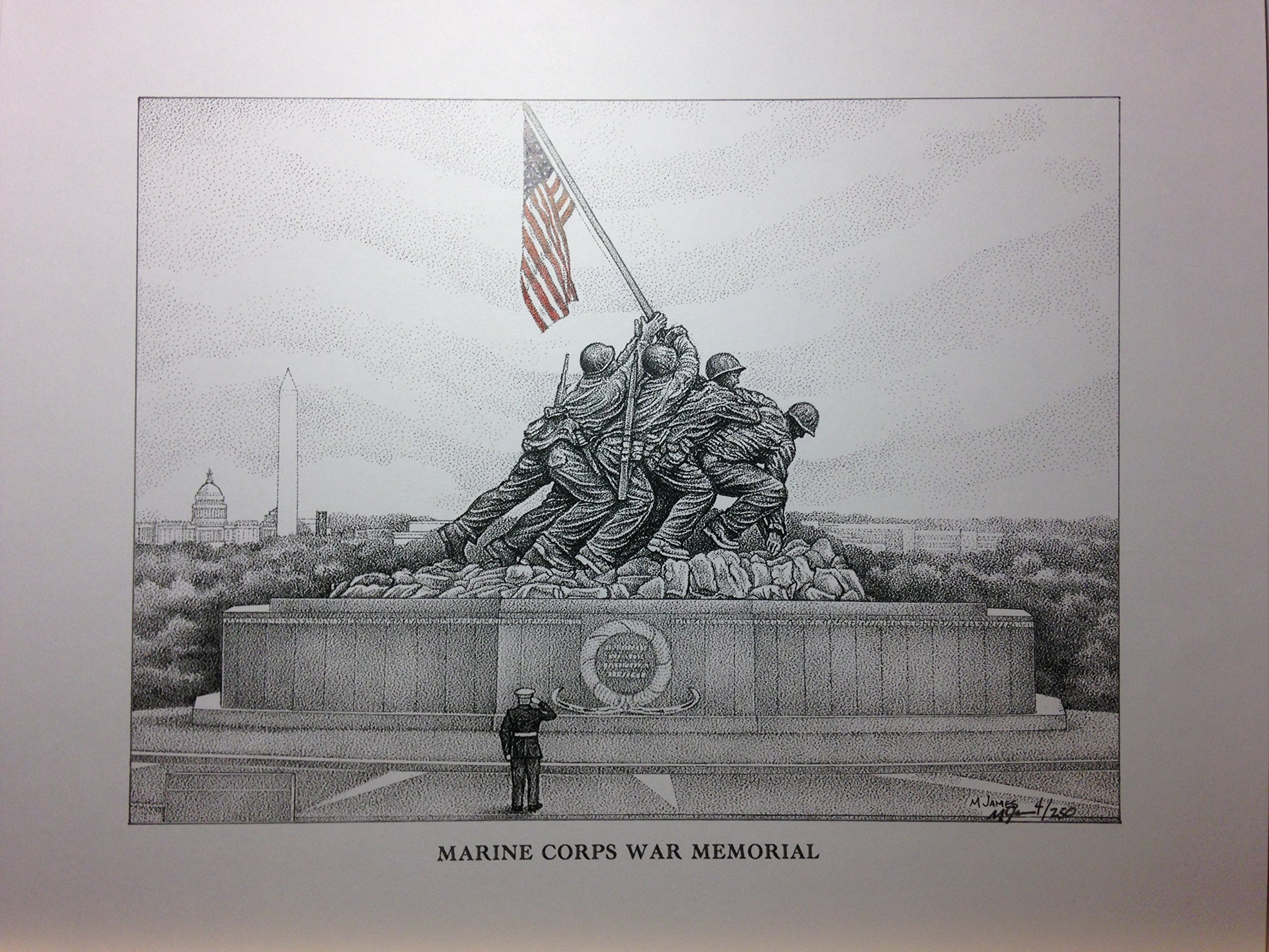 Marine Corps War Memorial (Iwo Jima Flag Raising) 11''x14'' signed/numbered print by Campus Scenes