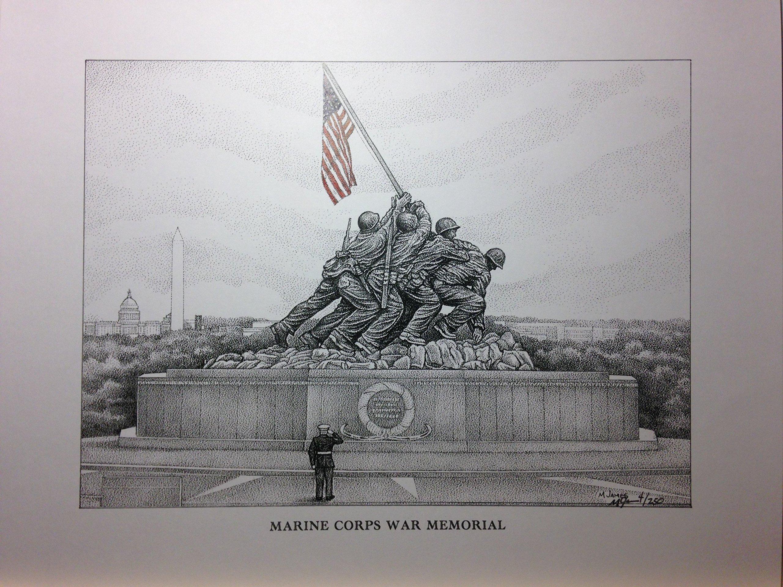 Marine Corps War Memorial (Iwo Jima Flag Raising) 11''x14'' signed/numbered print
