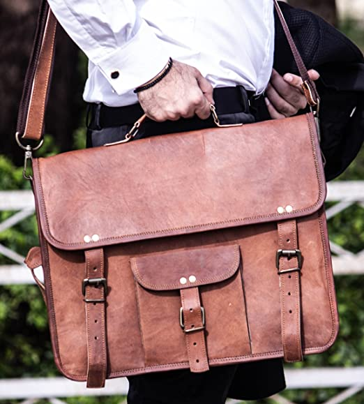 2563df8da31e Amazon.com  HandMadeCart Genuine Leather messenger bag For men and ...