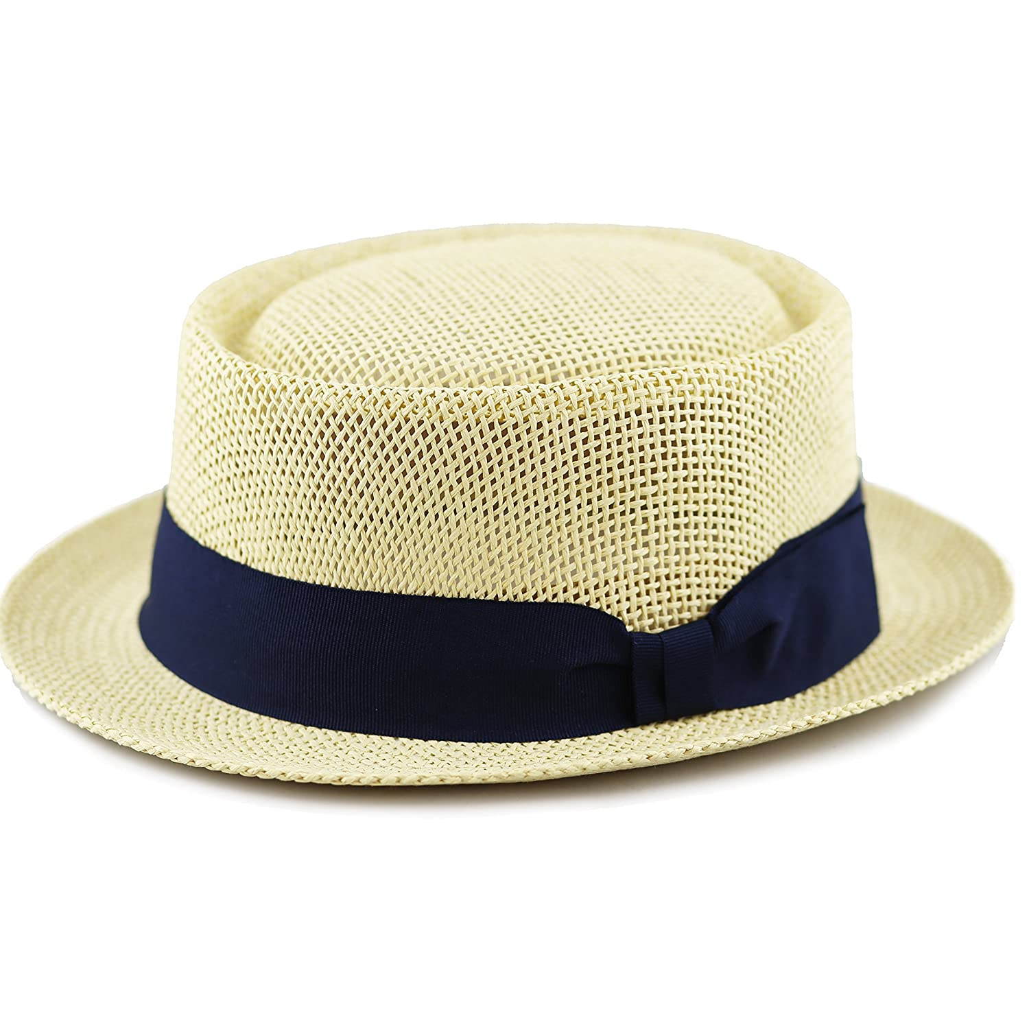 1940s Style Mens Hats The Hat Depot Unisex Summer Paper Straw Short Brim Porkpie Hat $14.99 AT vintagedancer.com