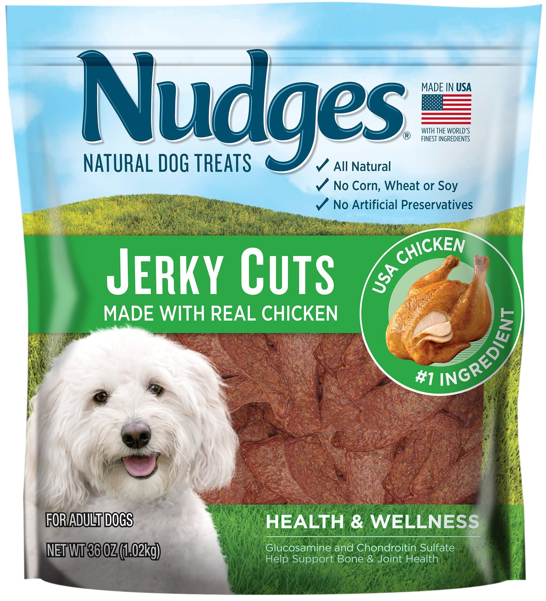 Nudges Health Wellness Chicken Jerky Dog Treats, 36 oz