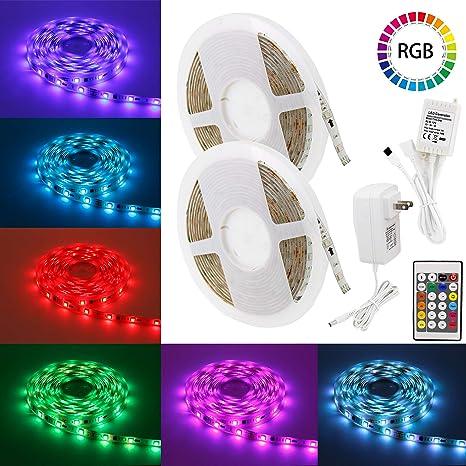 Led Strip Lights 32 8ft Myplus Smd 5050 Rgb Digital Led Light Strip With 300pcs Leds And Color Changing Kit Remote Control For Bedroom Living