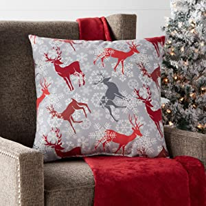 "Greendale Home Fashions Reindeer 18"" Square Holiday Throw Pillow, Red/Gray"