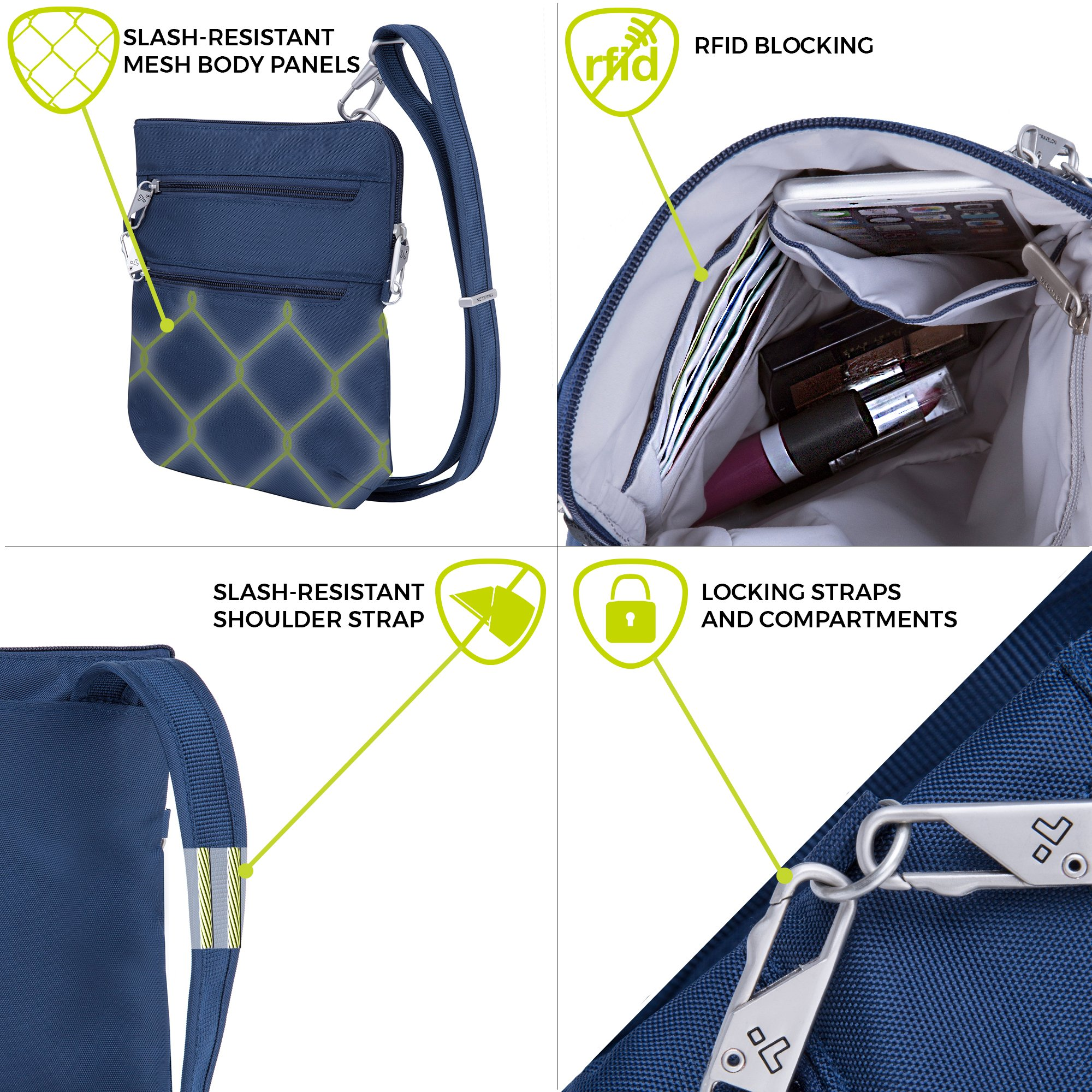 Travelon Anti-Theft Classic Slim Dbl Zip Crossbody Bag, Midnight by Travelon (Image #3)