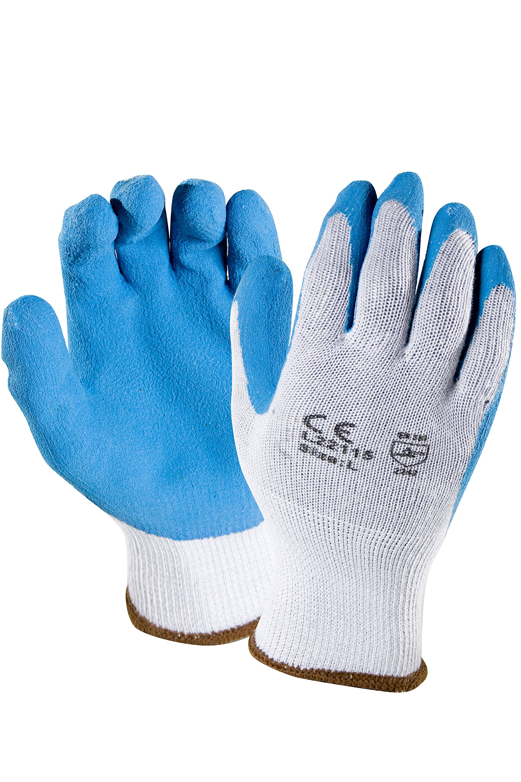 Azusa Safety L22115 10 gauge Knit Polyester/Cotton Work Safety Gloves, Latex Coated Textured Crinkle Finish Large 9'', Blue/Gray (Pack of 12 Pairs)