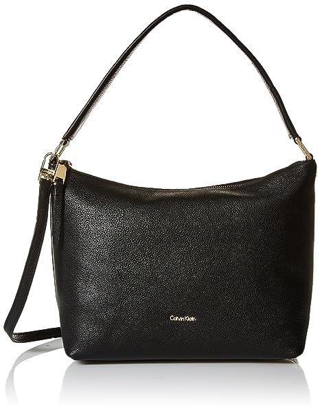8230e6884a Calvin Klein womens Calvin Klein Angelina Pebble Leather Hobo, black/gold,  One Size
