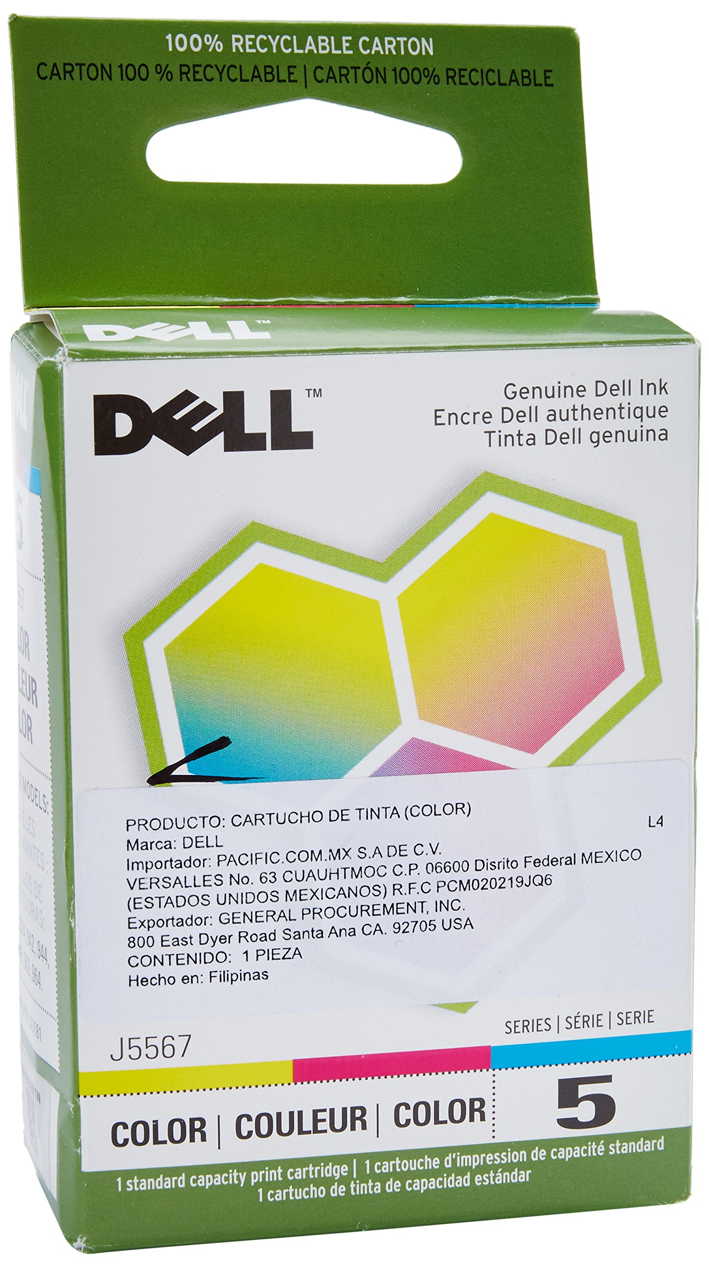Dell Computer J5567 5 Standard Capacity Color Ink Cartridge for 922/924/942/944/946/962/964