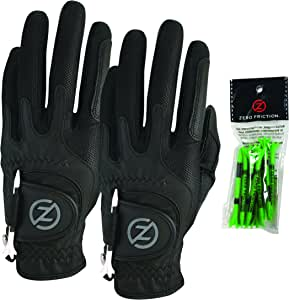 Zero Friction Men's Compression-Fit Synthetic Golf Glove (2 Pack), Universal Fit One Size