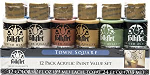 FolkArt 12 Color Paint Set (2-Ounce), Town Square, 2 oz, 2 Fl Oz