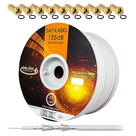 135dB 100m Cable de SATélite Coaxial Puro Cobre KU Coaxial Cable Cable de antena 5-