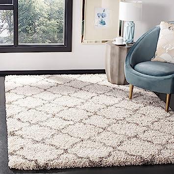 Amazon Com Safavieh Hudson Shag Collection Sgh282a Moroccan Trellis 2 Inch Thick Area Rug 6 X 9 Ivory Grey Furniture Decor