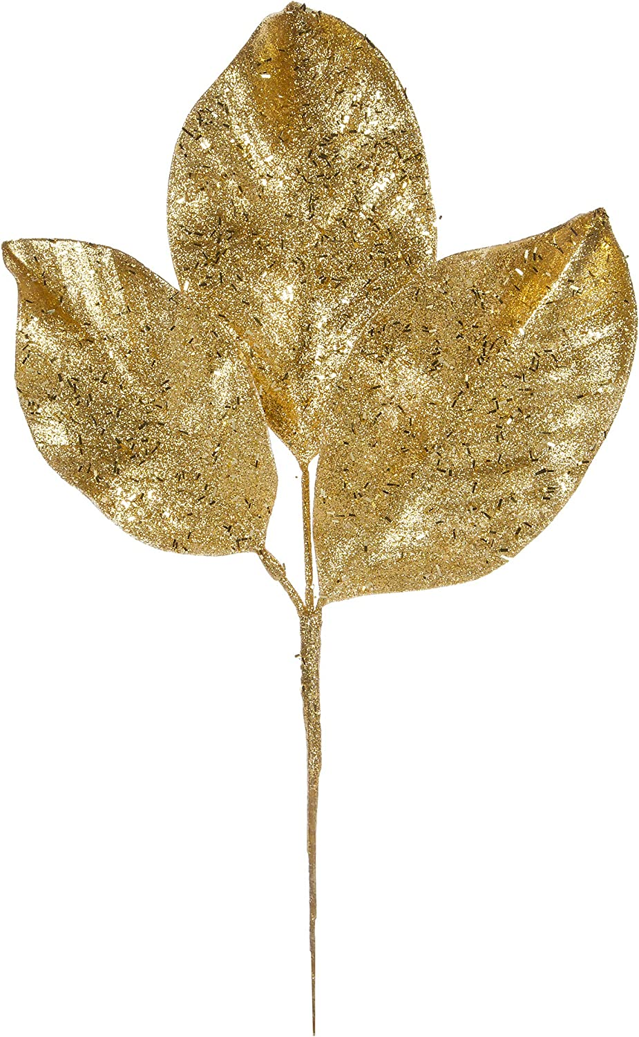 Gold Glittered Magnolia Pick 13.5 inch Christmas Flowers Floral