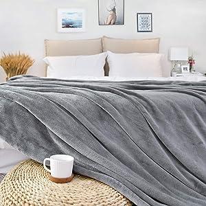 JS HOME Queen Size Thicken Fleece Blanket Throw, Lightweight Super Soft Cozy Luxury Bed Blanket Microfiber, Bed Blanket, Grey, 90