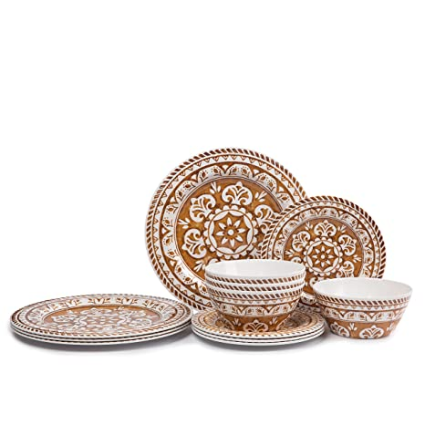 Melamine Dinnerware Set for 4- Hware 12 Piece Outdoor Dinner Plates Set Dishwasher Safe  sc 1 st  Amazon.com & Amazon.com | Melamine Dinnerware Set for 4- Hware 12 Piece Outdoor ...