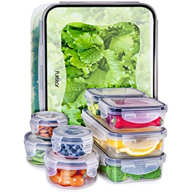 Fullstar Food Storage Containers with Lids - Plastic Food Containers with Lids - Airtight Leak Proof Easy Snap Lock and BPA Free Clear Plastic Containers with Lids for Kitchen Use (18 Piece Set)