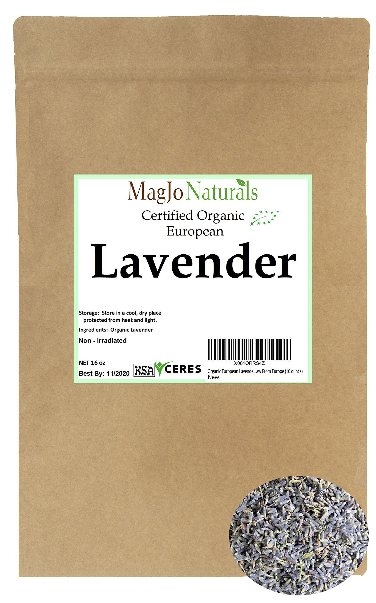 Organic European Lavender Flowers (Extra Grade) - 100% Raw From Europe (16 ounce)