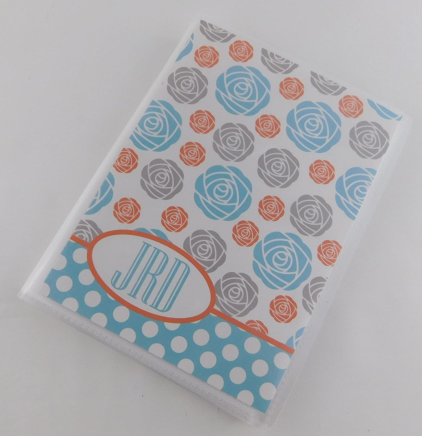 Custom Photo Album IA#B102 4x6 5x7 Pictures Teal Blue and Orange Flower
