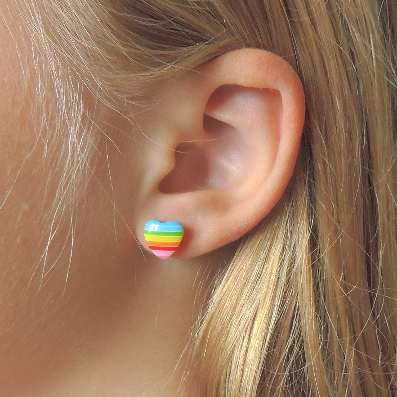 Amazon: Rainbow Heart Earrings On Hypoallergenic Plastic Posts For  Metal Sensitive Ears: Handmade