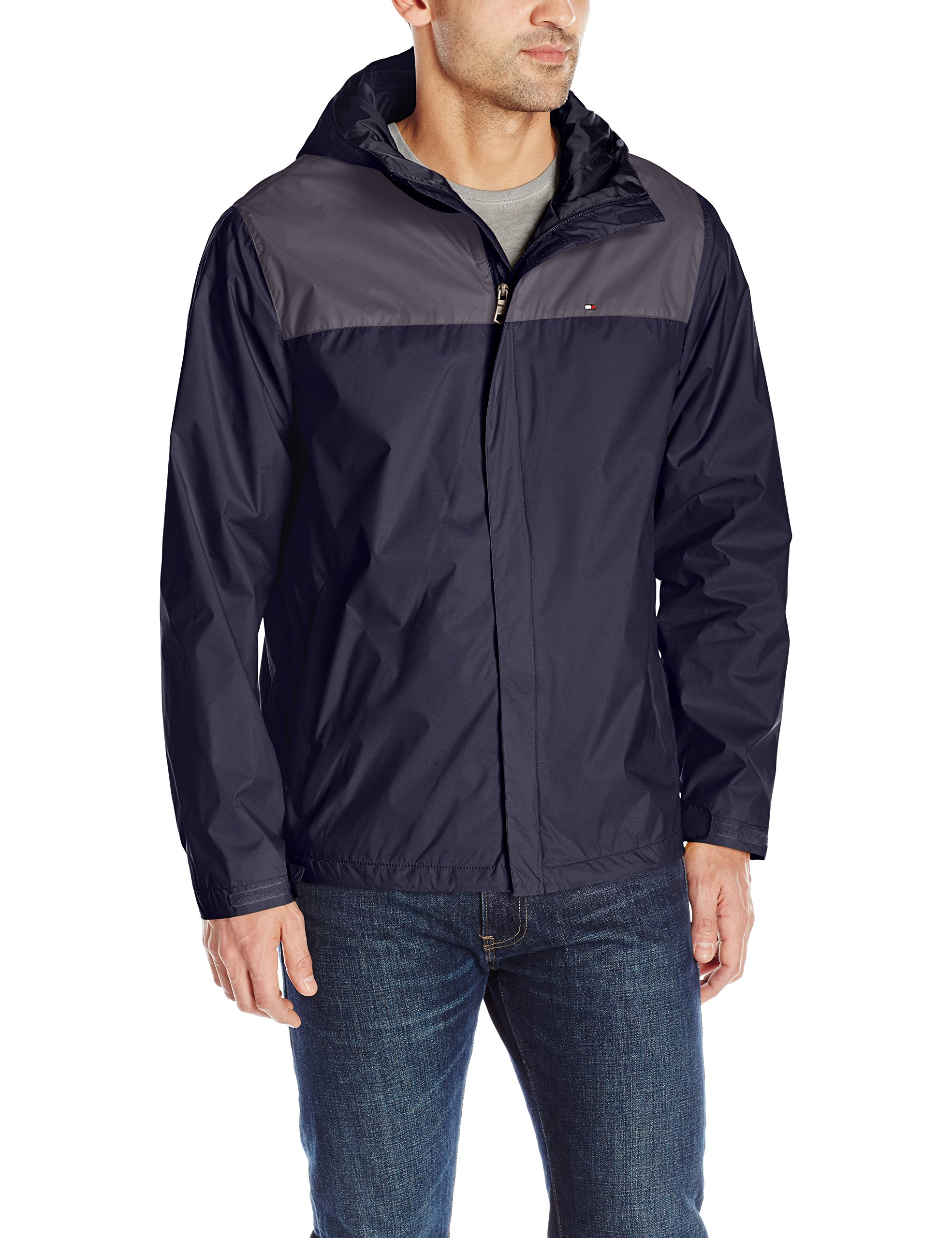 Tommy Hilfiger Men's Waterproof Breathable Hooded Jacket, Charcoal/Navy, L by Tommy Hilfiger