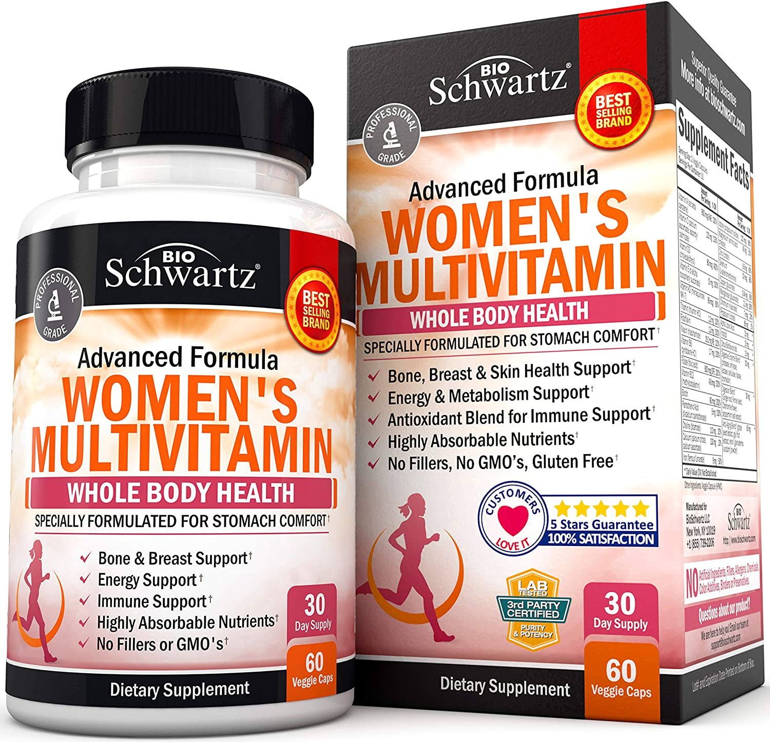 Multivitamin for Women - Energy, Immune & Joint Support Supplement - with Vitamin D3 for Skin, Bone and Breast Support - Once Daily - Formulated for Stomach Comfort - Promotes Whole Body Health