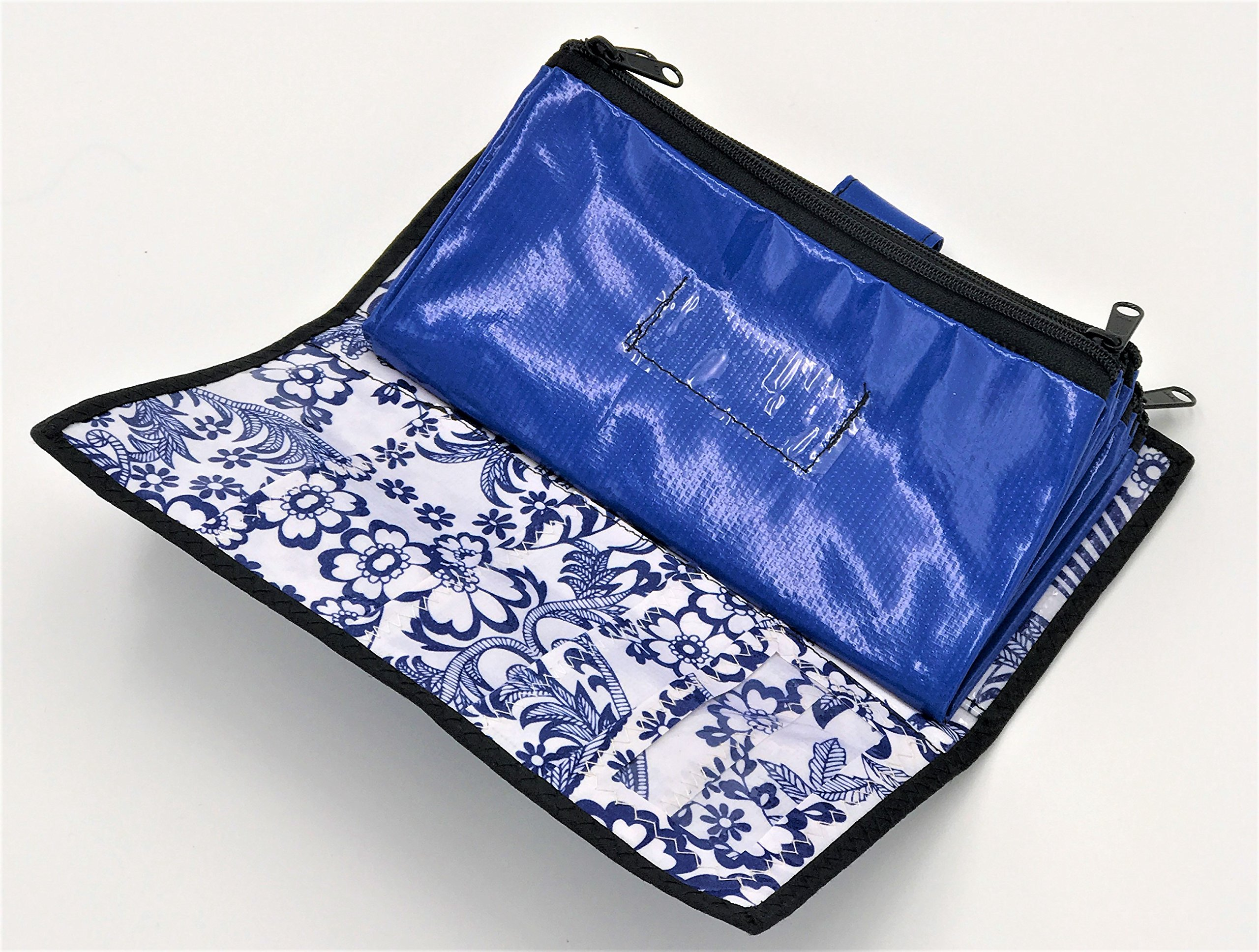 Cute Blue and White Oilcloth Envelope System Wallet for Cash Budgeting and Extreme Couponing