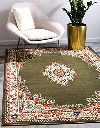 Unique Loom Reza Collection Classic Traditional Green Area Rug 9 10 x 13 0