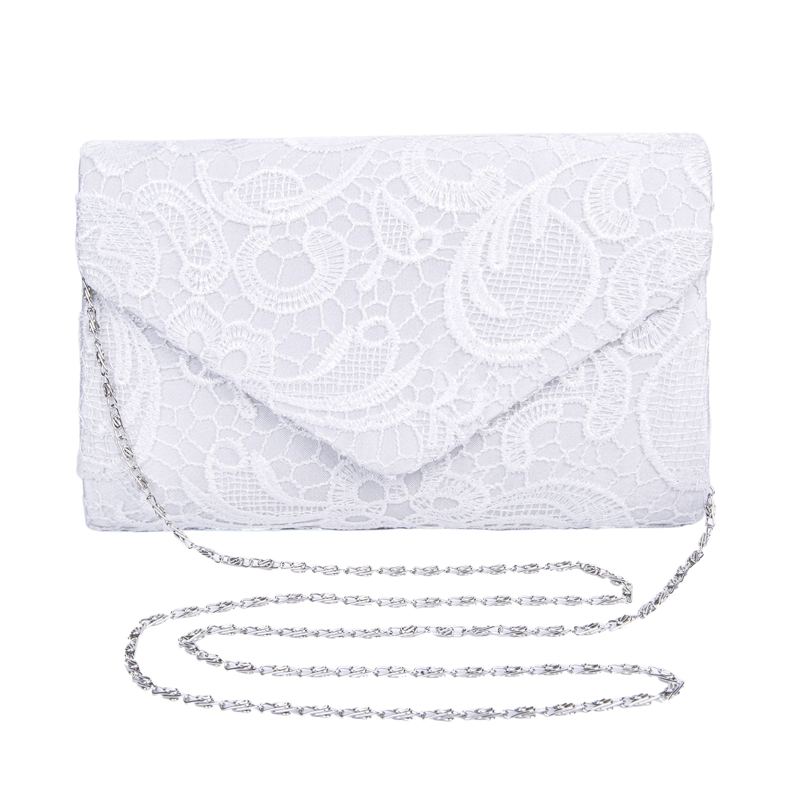 Kaever Womens Lace Floral Evening Clutch Envelope Clutch Purses for Wedding and Party (White)
