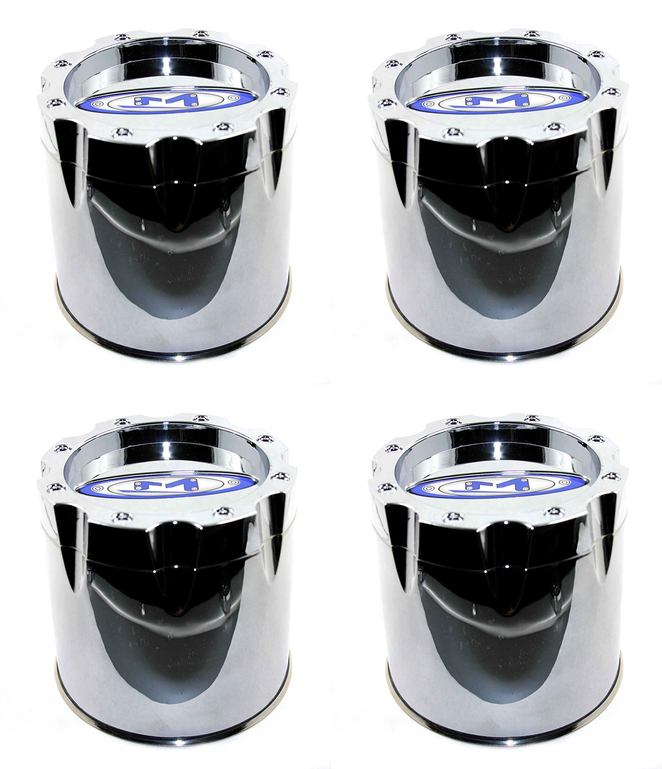 Moto Metal Set (4pcs) Chrome Center Hub Caps Push-Thru 5 3/8'' for 8 Lug MO950 MO951 MO954 RIms