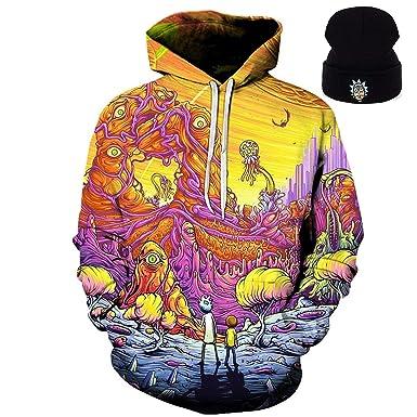 DJFreeze Rick & Morty Unisex Fashion Print Zip Hoodie Sweatshirt Jacket  Pullover Plus Bonus Beanie Included Free