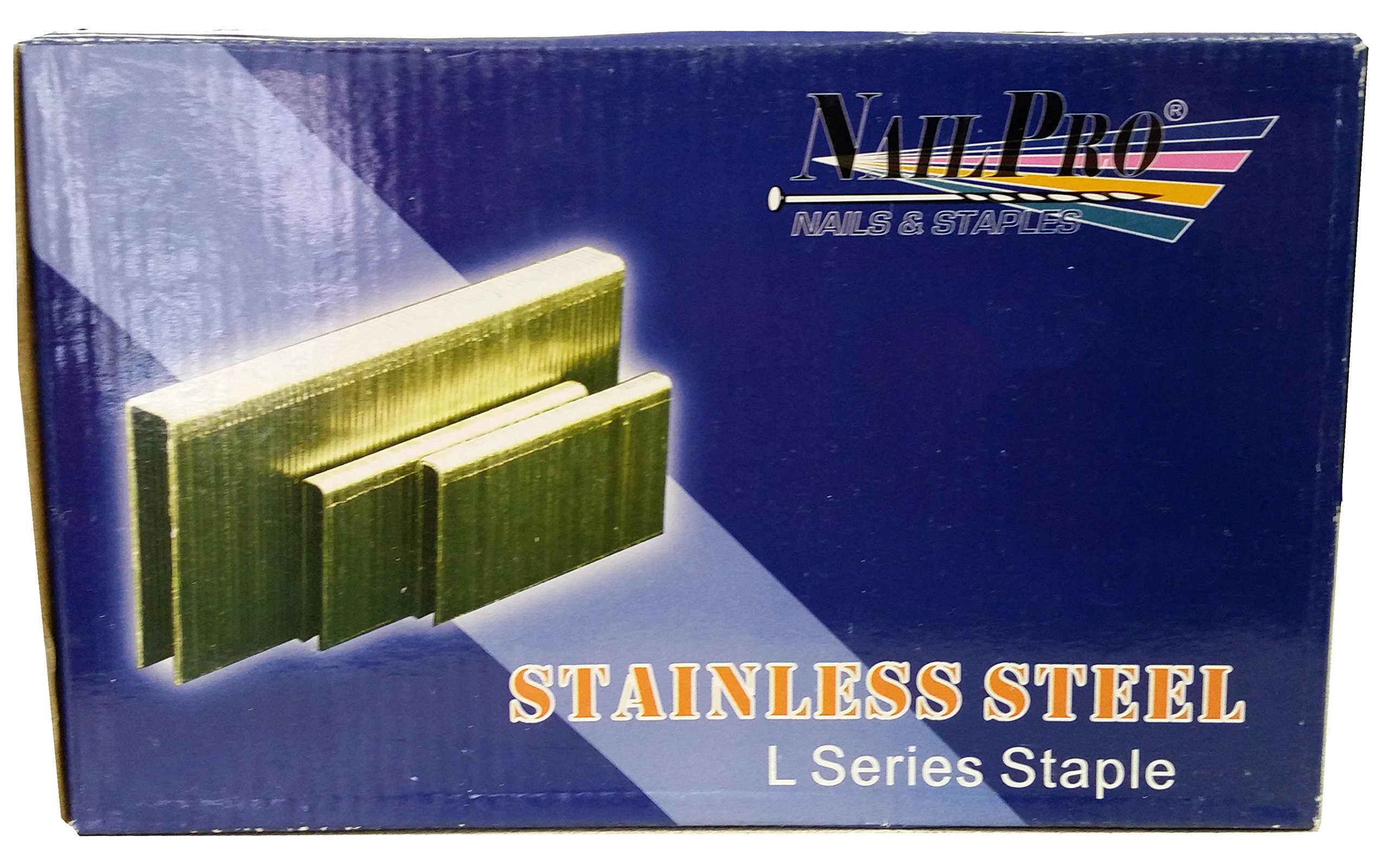 NailPro 1/4'' Crown x 1-1/2'' Leg Stainless Steel - 5,000 pcs. of ''L Series'' Staples - JAL17SS
