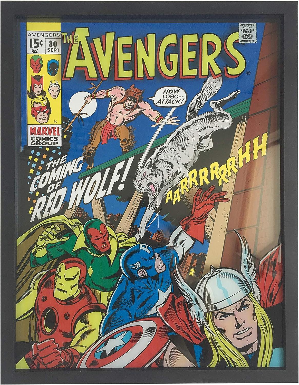Marvel Framed Printed Glass Wall Art, Avengers Retro, 15x20 x 1