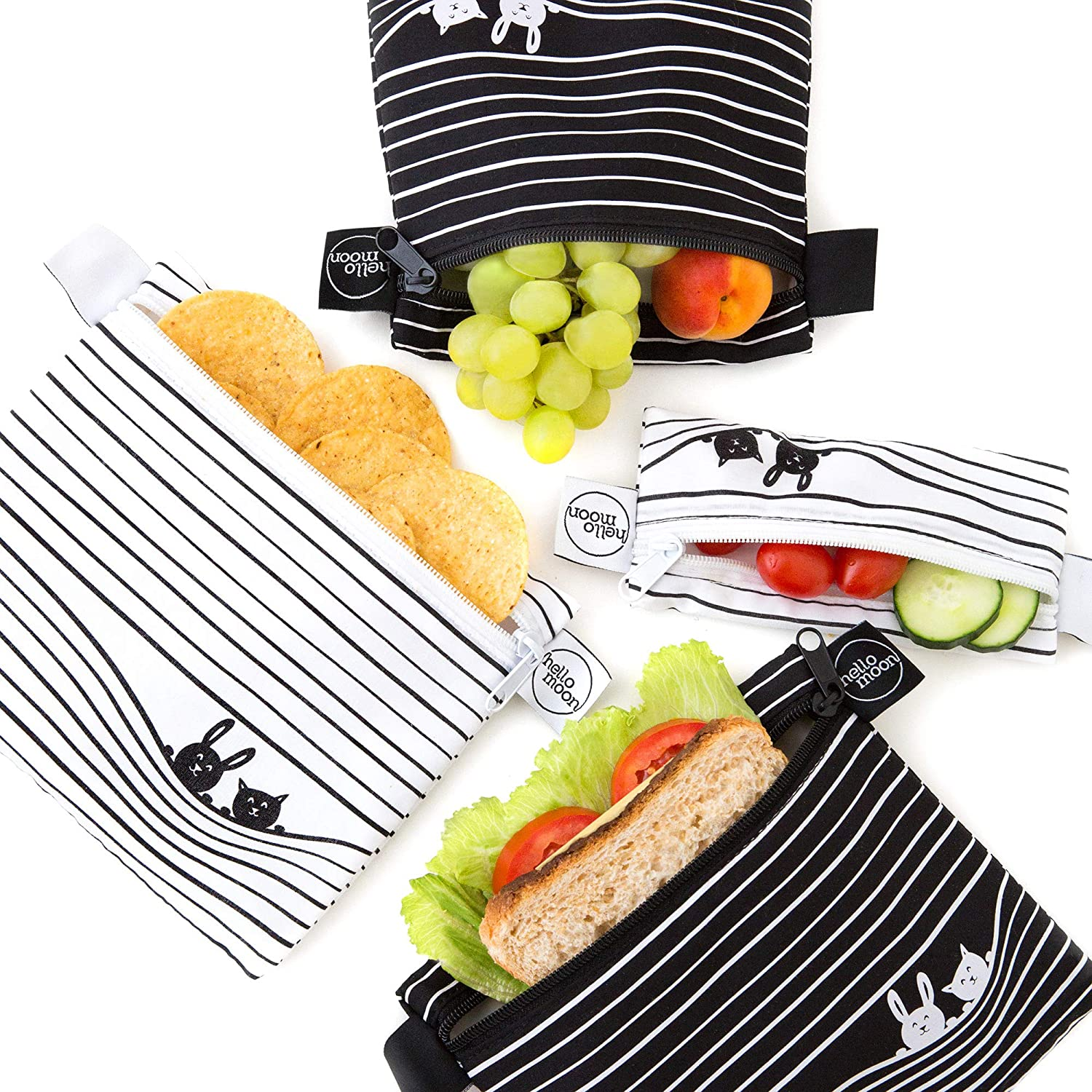 Eco-Friendly Reusable Snack and Sandwich Bags - Zero Waste Dishwasher Safe Lunch Bags Set Includes 2 Large Reusable Sandwich Bags 1 Medium 1 Small Reusable Food Bags | Reusable Bag Set (Magic Lines)