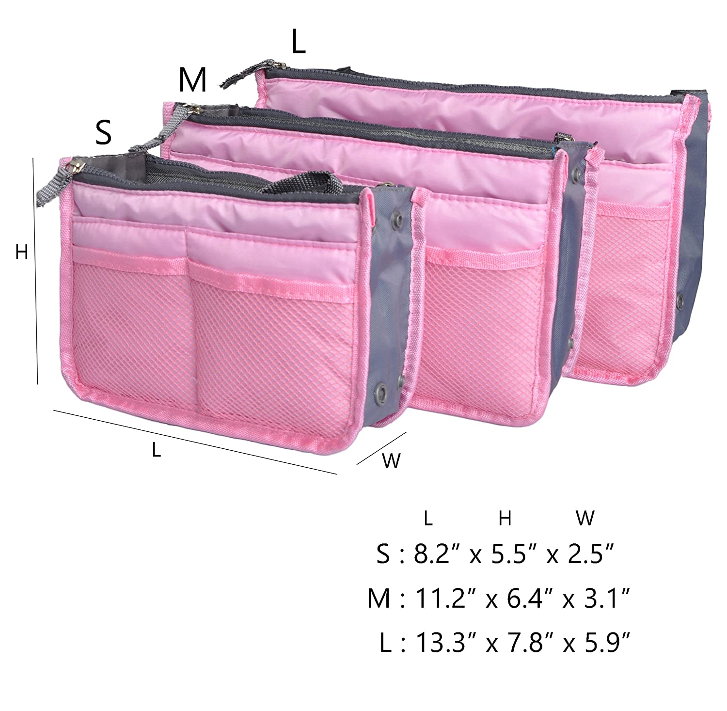 Vercord Purse Organizer,Insert Handbag Organizer Bag in Bag 13 Pockets 30 Colors 3 Size SWSNB-001new