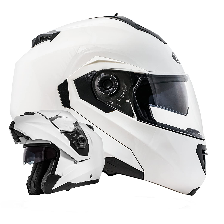 ATO Moto Montreal Weiß Größe M 57-58cm Klapphelm mit Doppelvisier System und der neusten Sicherheitsnorm ECE 2205 ATO-Helme 640 M