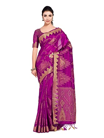 8e34a5f45190b8 MIMOSA Art Silk Saree Woven with Jute Thread All Over with Blouse ...