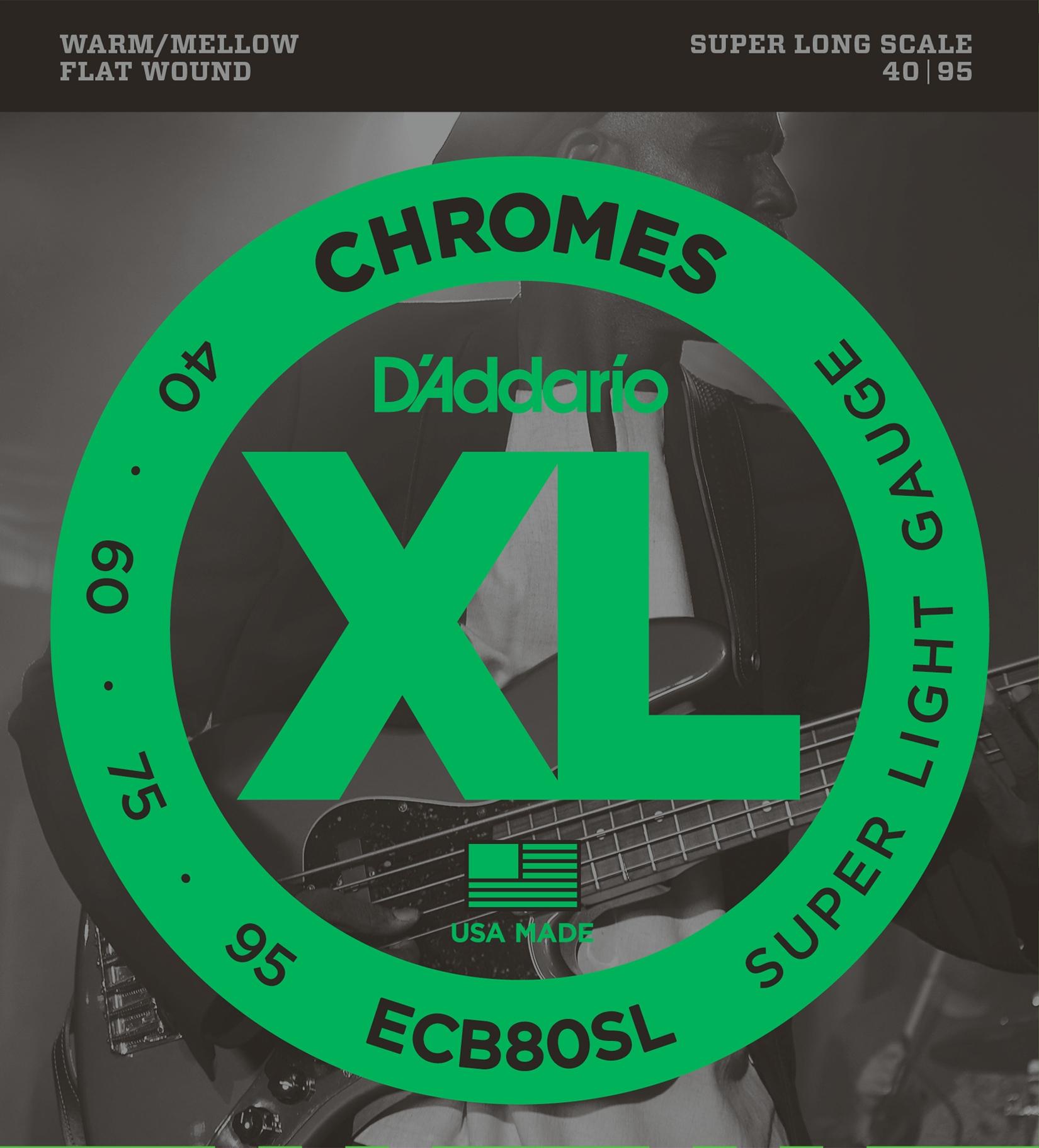 DAddario ECB80SL - Juego de cuerdas para bajo eléctrico de cromo.040 -