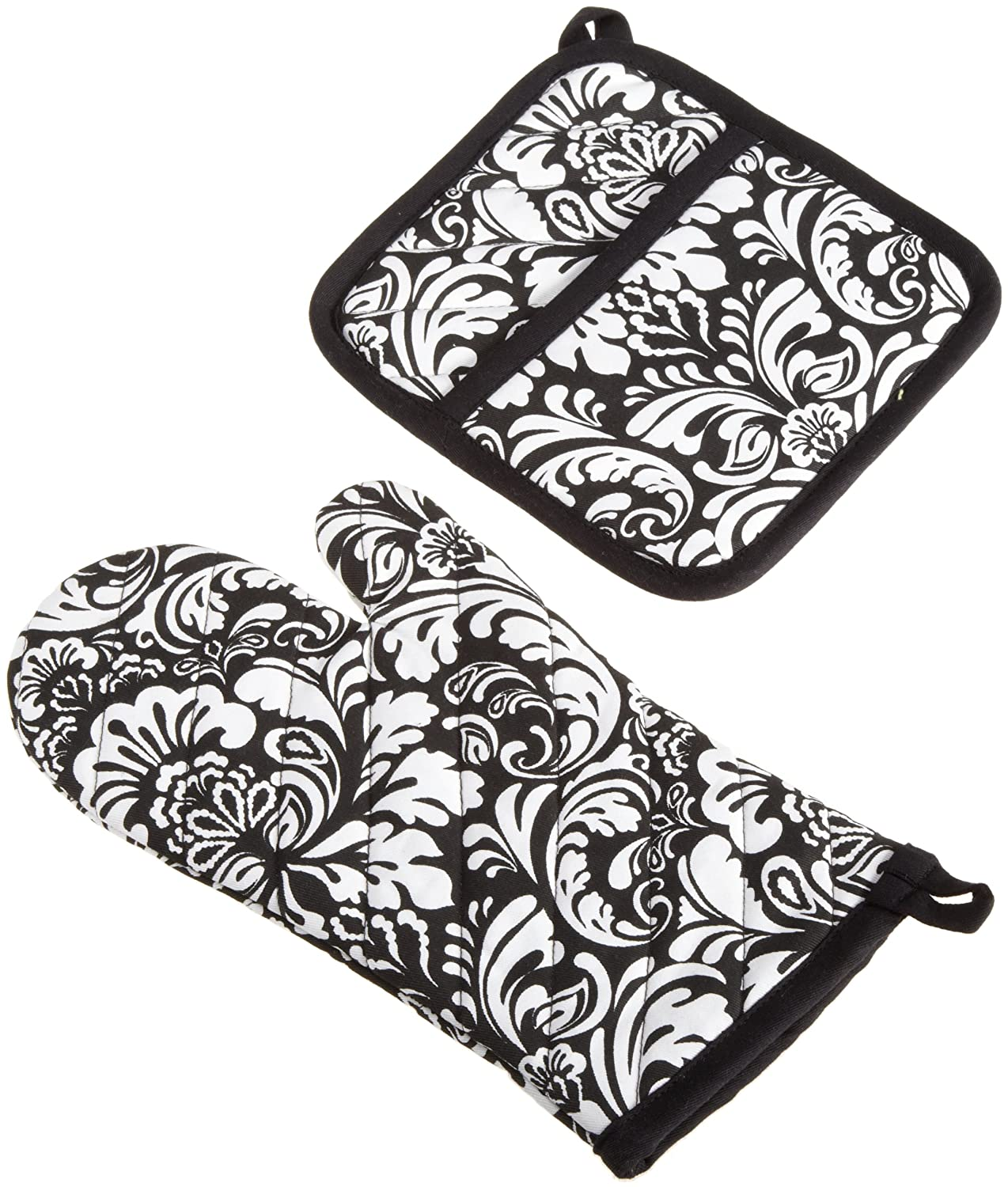 "DII Cotton Damask Oven Mitt 12 x 6.5"" and Pot Holder 8.5 x 8"" Kitchen Gift Set, Machine Washable and Heat Resistant for Cooking and Baking-Black"
