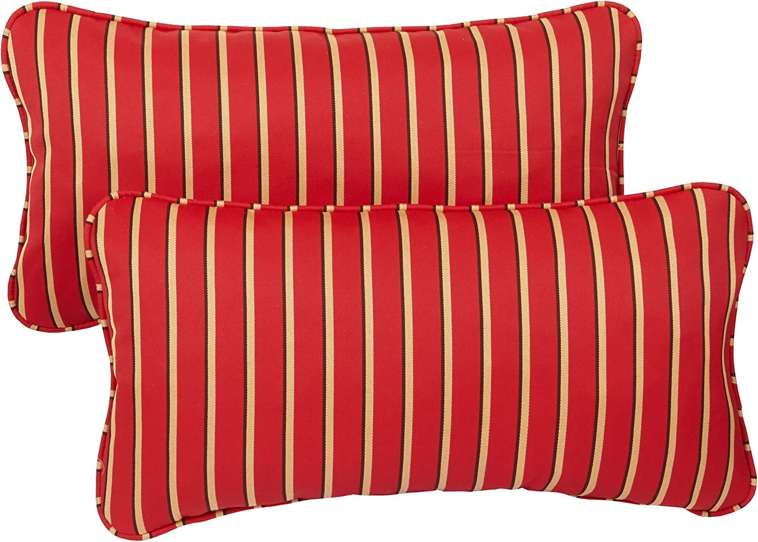 Mozaic AZPS2735 Indoor Outdoor Sunbrella Lumbar Pillows with Corded Edges, Set of 2 12 x 24 Red, Gold Black Stripes