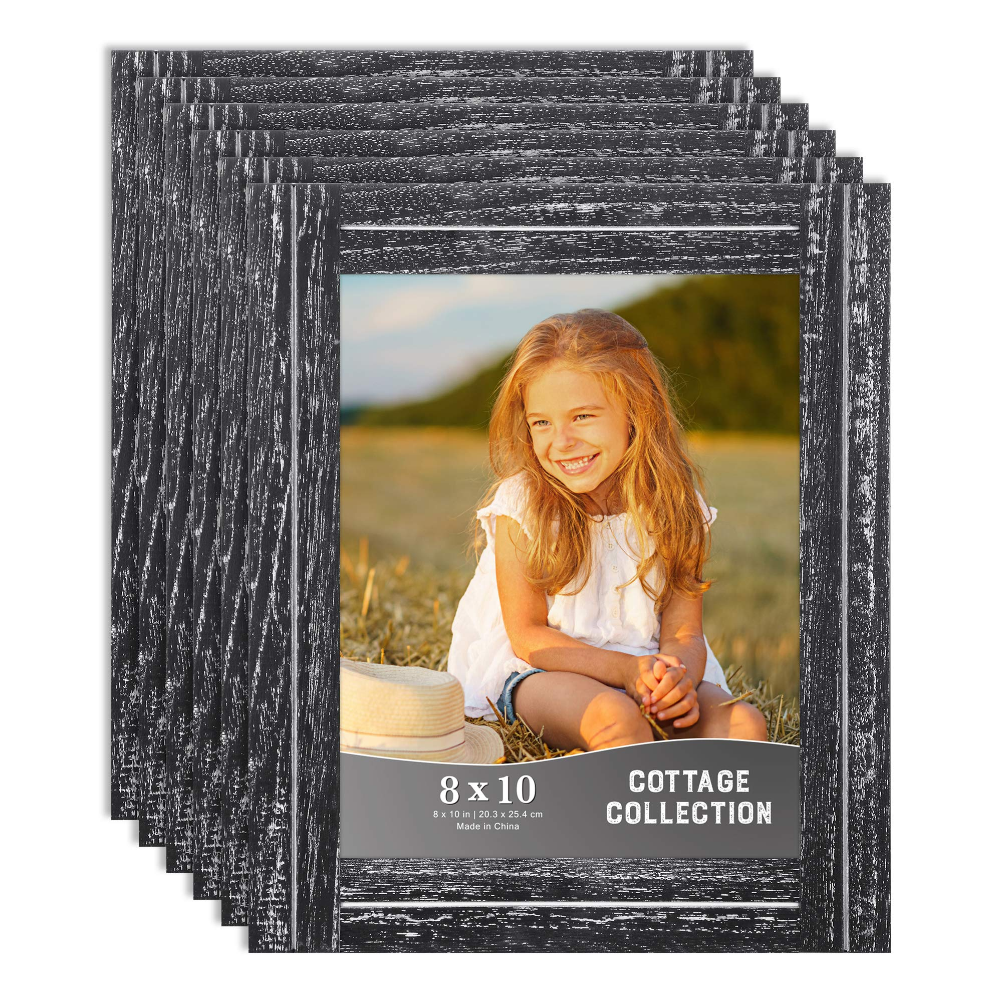 Icona Bay 8x10 Picture Frames, Rustic Picture Frame Set, Natural Real Wood Frames, Set of 6 Cottage Collection (6 Pack, Basalt Black) by Icona Bay