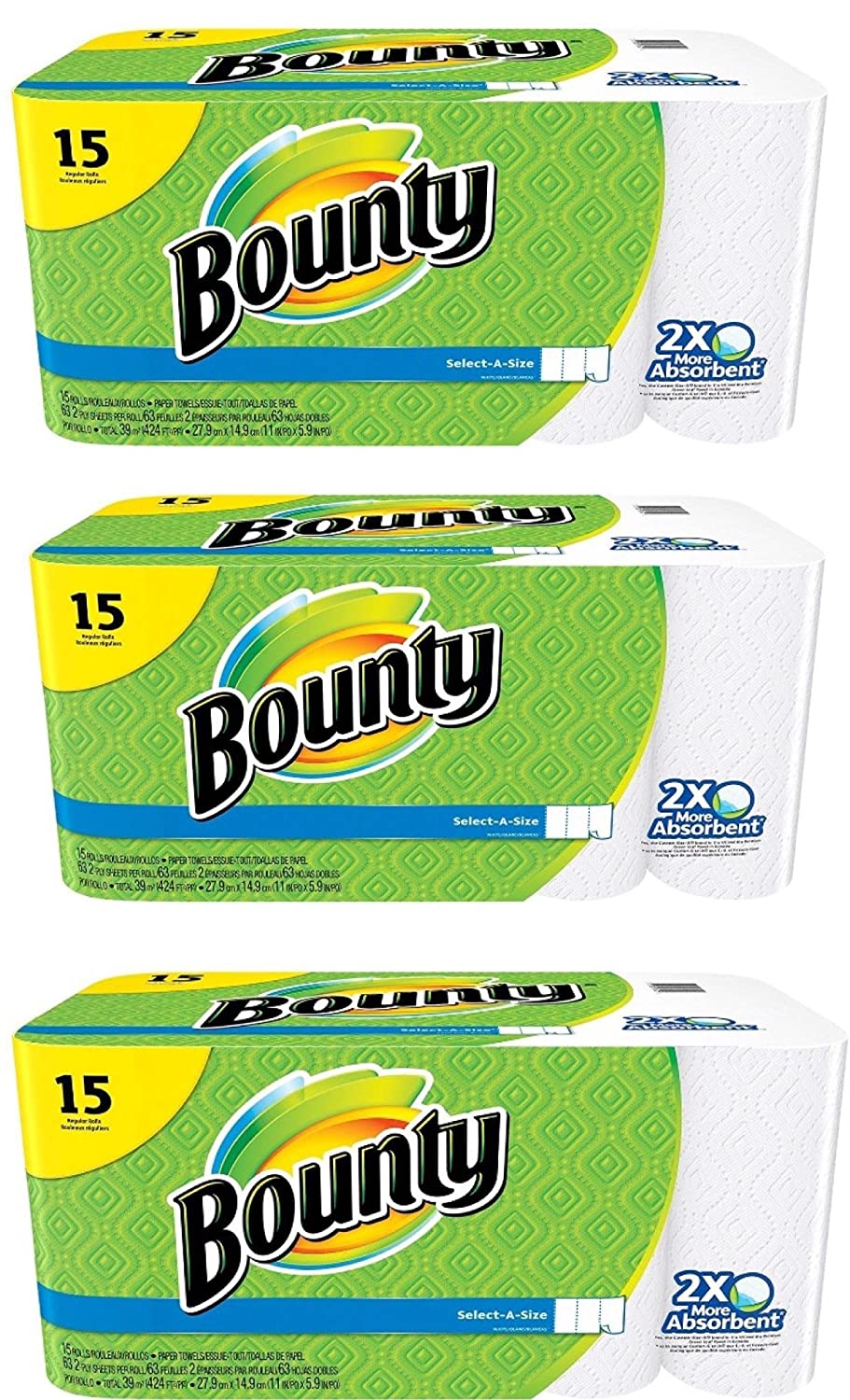 Amazon.com: Bounty Select-a-size Paper Towels, White, 15 Regular Rolls, Pack of 3: Kitchen & Dining