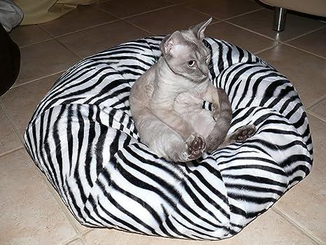 Donut térmica Cojín Manta cama para pequeños perros y gatos Alcantara Zebra
