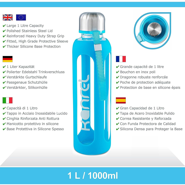 Amazon.com: Kanrel botella de agua potable de vidrio 32 ...