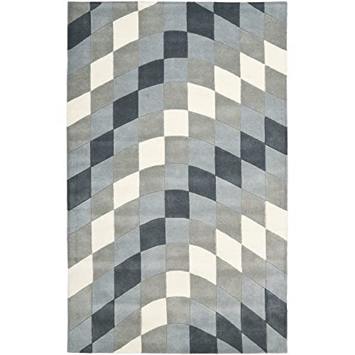 Safavieh Soho Collection SOH782B Handmade Abstract Checkered Light Grey and Ivory Premium Wool Area Rug 5 x 8