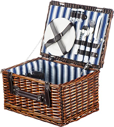 Picnic Basket for 2 Handmade Picnic Hamper Set Ceramic Plates Complete Kit Includes Metal Flatware Wine Glasses S P Shakers and Bottle Opener Blue Stripe Pattern Lining Picnic Tote Wine Gifts